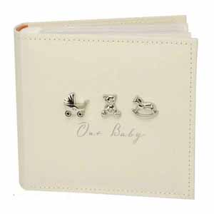 Bambino Linen Fabric Photo Album with 3 Icons for 100 6x4 Inch Photos