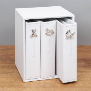 Bambino Baby Photo Albums | Set of 3 with Holder | 72 6 x 4 Inch Photos - White