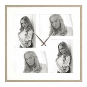 Varese Clock Multi Aperture Photo Frame For 4 6x4 inch Photos Overall Size 13