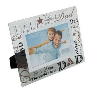 Dad Photo Frame | 3D Words | Glass and Mirrored Design