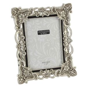 Floral Antique Photo Frame | Vintage Silver | 5x7 inch Photo