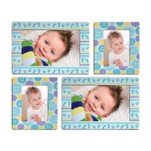 Sticky Photo Frame for 4 Photos - Blue