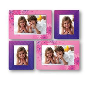 Sticky Photo Frame for 4 Photos - Pink and Purple