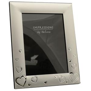 Two Tone Silver Plated Hearts 7x5 Photo Frame