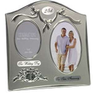 25th Wedding Anniversary Photo Frame Silver For Two Photos