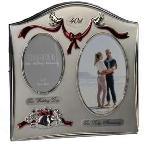 Juliana Photo Frame 2 Tone Silver Plated Double Wedding Anniversary - 40th Ruby FS55040