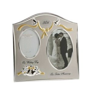 Juliana Two Tone Silver Plated Wedding Anniversary Photo Frame - 50th Golden Anniversary FS55050