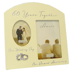 Amore Diamond Wedding Anniversary Multi Aperture Photo Frame - 2 Photos