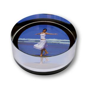 Crystal Rock Cylindrical Photo Paperweight with Box