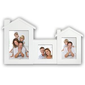 House Multi Aperture Photo Frame for 3 Photos | 4x4 6x4 & 7x5 inch | White | Hangs