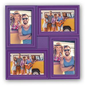 Minorca Purple Multi Aperture Photo Frame For 4 6x4 Photos