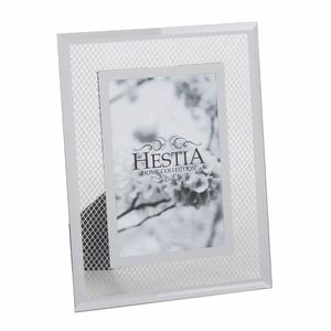 Hestia Glass Mirror Mesh 8x6 Inches Photo Frame Overall Size 10.75x8.5 Inches