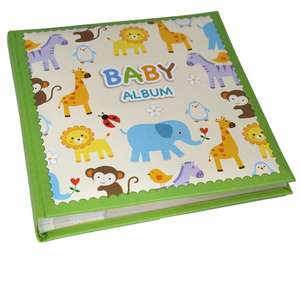 Green Zoo Baby Photo Album Slip In Style for 120 6x4 Inch Photos