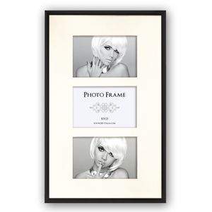 Black Triple Multi Aperture Photo Frame for 3 6x4 Photos Overall Size 16.25x10.25 Inches