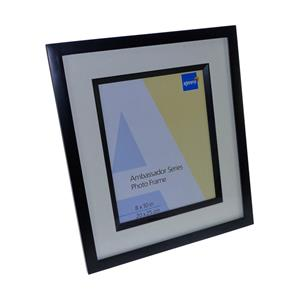 Ambassador Black Wood 12x8 Photo Frame Bevel Mat and Matching Wood Inlay