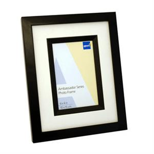 Ambassador Black Wood 6x4 Photo Frame Bevel Mat and Matching Wood Inlay