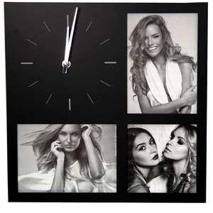 ZEP Molveno Black Multi Photo Frame Clock - Holds 3 Photos