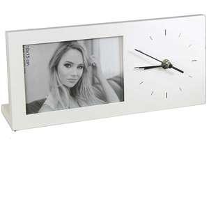 ZEP Lugano White Photo Frame Clock - Holds One 6x4 Inch Photo