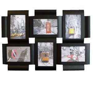 Caserta Black Multi Aperture Photo Frame For 6 6x4 Photos
