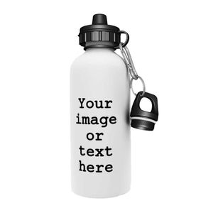 Personalised Aluminium White Water Bottle - 600ml - Add your Photo or Text