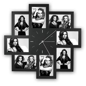 Trieste Black Multi Aperture Photo Frame and Clock for 8 6x4 Photos