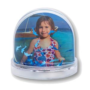 Photo Globe with Blue Dolphins