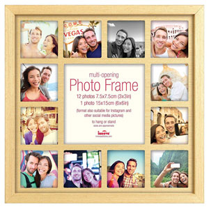 Multi Photo Frame Oak For 13 3x3 inch Instagram Photos