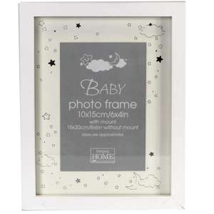 Shiny Stars Baby Frame in White Overall Size Approx 9x7.5 Inches