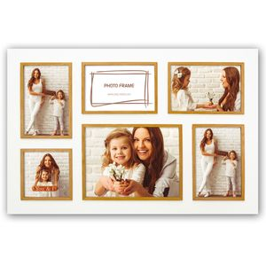 Este 6Q Wood Multi Aperture Photo Frame for 6x4 4x4 and 8x6 Photos