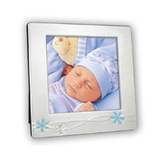 Cornice Blue Silver Plated 4.25x4.25 Photo Frame
