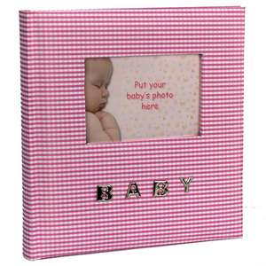 Baby Pink Gingham Slip In Photo Album for 100 6x4 Inch Photos