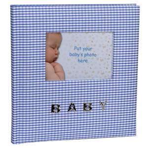 Baby Blue Gingham Slip In Photo Album for 100 6x4 Inch Photos