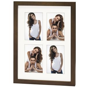 Ponza 4Q Multi Aperture Wood Photo Frame for 4 6x4 Photos