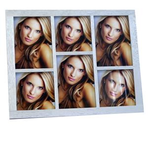 Quebec 6Q Silver Wood Multi Aperture Photo Frame