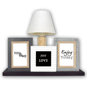 Multi Photo Frame with Lamp | Wooden | Free Standing | UK Plug