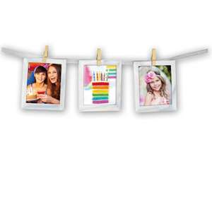 Hanging Slip In Photo Pockets 8x10cm with Pegs and Ribbon
