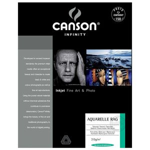 Canson Infinity Aquarelle Rag 310gsm Photo Paper - Acid Free - 100% Cotton