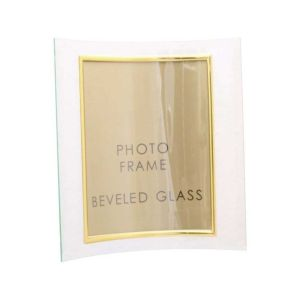 Sixtrees Curved Glass Photo Frame in Landscape and Portrait - Silver and Gold