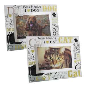 Best of Breed Glass Photo Frame with 3D Words - Cat - Dog