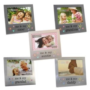 Me and My Family Photo Frames | Glass Front | Brushed Aluminium