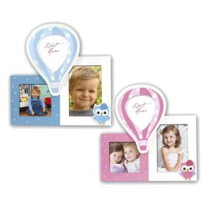 Matteo Multi Aperture Photo Frame | Blue or Pink | Takes 3 Photos