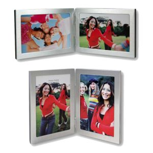 Nick Silver Double Photo Frame | Stands | Brushed Matte Finish