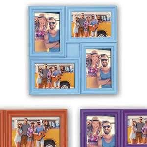 Minorca Multi Photo Frame | Holds 4 6x4 inch (15x10cm) Photos | Purple Orange Blue