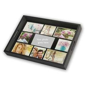 Personalised Black Wooden Photo Tray for 9 Custom Photographs Overall Size 18x14