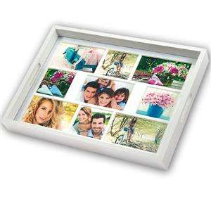 White Wooden Photo Tray for 9 Photographs