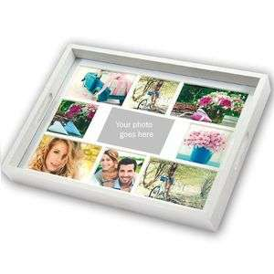 Personalised White Wooden Photo Tray for 9 Custom Photographs Overall Size 18x14
