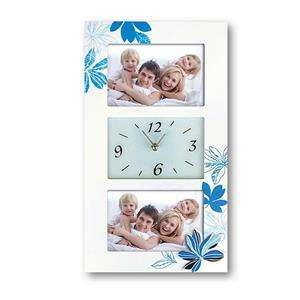 Milena Wood Photo Frame and Clock for 2 x 6x4 Photos