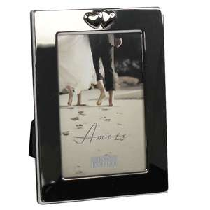 Amore Simple Silver finish photo Photograph Frame with wide boarder & hearts 4