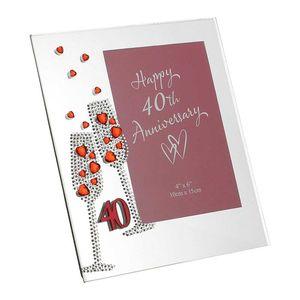 Diamante Ruby 40th Wedding Anniversary Glass Photo Frame 7.5 x 6.5 Inch