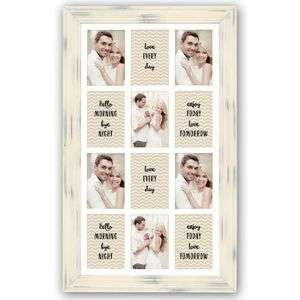 Nizza Cream Distressed Wood Multi Aperture Frame for 12 6x4 Photos